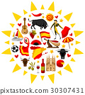 Spain background in shape of sun. Spanish 30307431