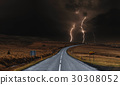 The road with powerful thunderstorm landscaped 30308052
