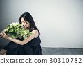 Female portrait with bouquet 30310782
