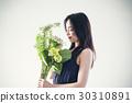 与花束的女性画象 30310891