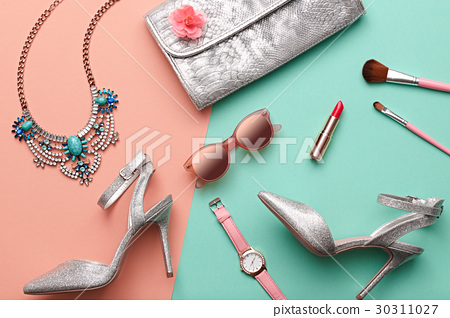 Fashion Design Woman Accessories Set. Minimal. Art 30311027