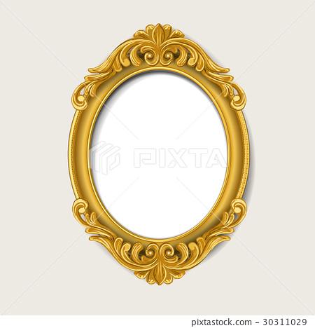 Vintage Gold Picture Frame Stock Illustration 30311029 Pixta