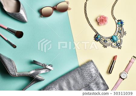 Fashion Design Woman Accessories Set. Minimal. Art 30311039