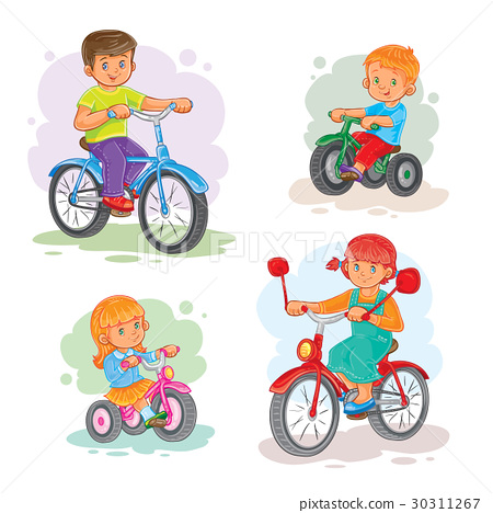 Set of vector icons small children on bicycles 30311267