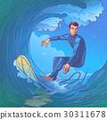 Vector illustration of a surfer 30311678