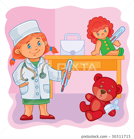 Little girl doctor treats their toys 30311715