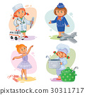 Set vector icons of small children different 30311717