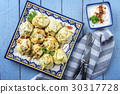 Pelmeni with Yoghurt on Plate 30317728