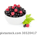 Black currant and raspberry in bowl 30320417