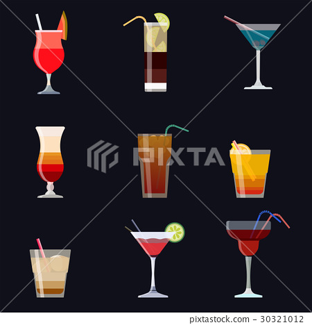Set of alcoholic cocktails isolated on black 30321012