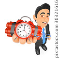 3D Businessman holding a time bomb 30321616