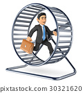 3D Businessman running on a hamster wheel 30321620
