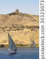 Felucca (river boat) on the Nile, with the Sahara 30323073