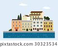 Mediterranean landscape by sea. Italian or 30323534
