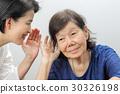 Asian seniors woman hearing loss , Hard of hearing 30326198