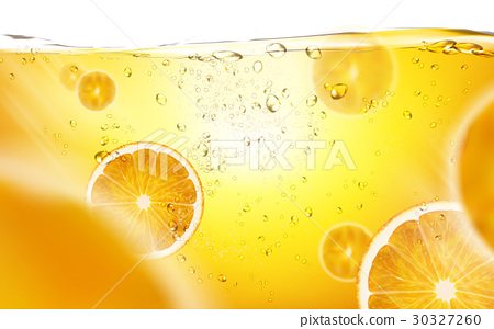 sliced orange in juice 30327260