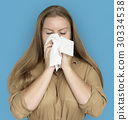 Caucasian Woman Sneezing Crying Tissue 30334538