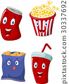 Popcorn, soft drink, french fries and potato chips 30337692