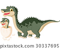 Mother dinosaur with baby hatching 30337695