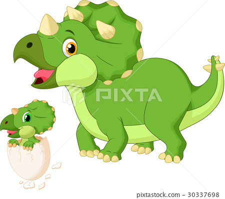 Mother triceratops with baby hatching 30337698