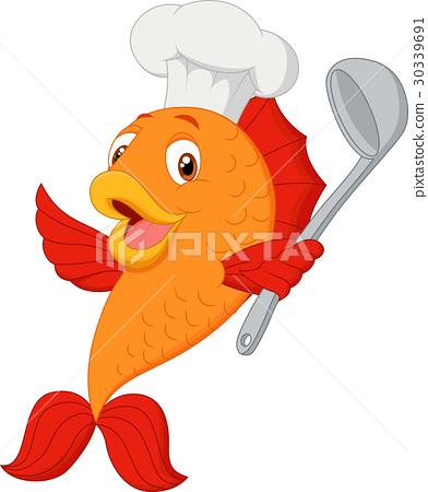 Cartoon chef fish holding spatula 30339691