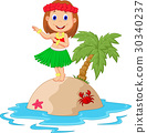 Hula girl in the tropical island 30340237