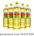 Group of plastic bottles with rapeseed oil 30343399