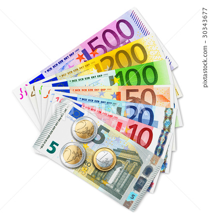 Set of Euro banknotes and coins 30343677