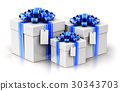 Gift or present boxes with ribbon bows label tags 30343703
