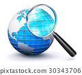 Blue Earth globe and magnifying glass 30343706