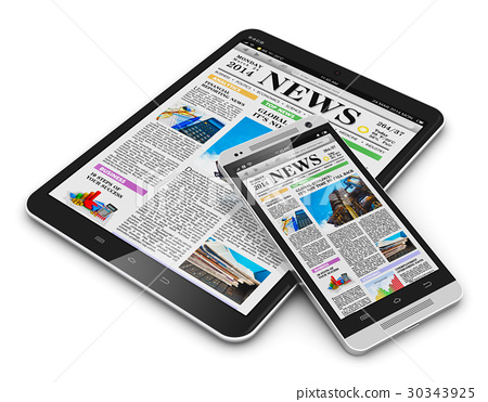 Tablet PC and smartphone with business news 30343925