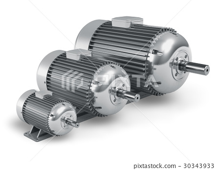 Set of different industrial electric motors 30343933