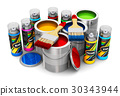 Cans with color paint, paintbrushes spray paints 30343944