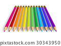 Row of rainbow pencils 30343950