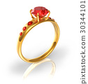 Golden ring with red jewels 30344101