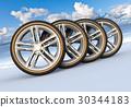 Set of car wheels in snowy landscape 30344183