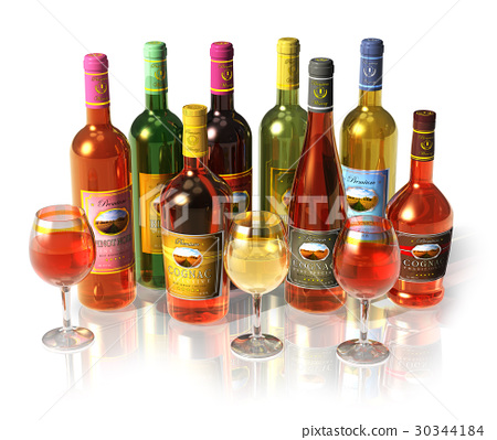 Set of wine and cognac bottles and goblets 30344184
