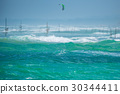 Beautiful stormy sea with waves 30344411
