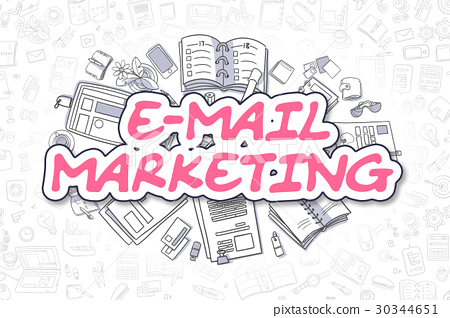 E-Mail Marketing - Doodle Magenta Word. Business 30344651