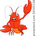 Cartoon lobster waving 30345136