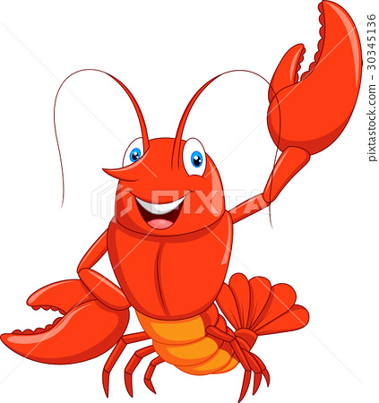 Cartoon lobster waving 30345136