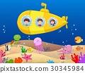 Happy kids in submarine 30345984