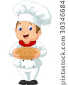 Cartoon chef holding a loaf of bread 30346684