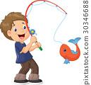 Illustration of Cartoon Boy fishing 30346688