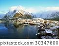snow in Reine Village, Lofoten Islands, Norway 30347600