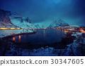 sunset in Reine Village, Lofoten Islands, Norway 30347605