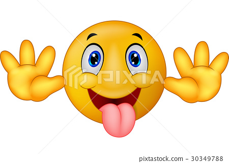 Playful emoticon smiley jokingly stuck out its ton 30349788