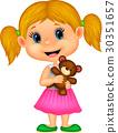girl, bear, holding 30351657