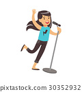 Young brunette girl singing with microphone in her 30352932