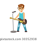 Young smiling boy playing guitar and singing with 30352938